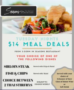 TUESDAY NIGHTS 4 for $14 - SEASONS RESTAURANT